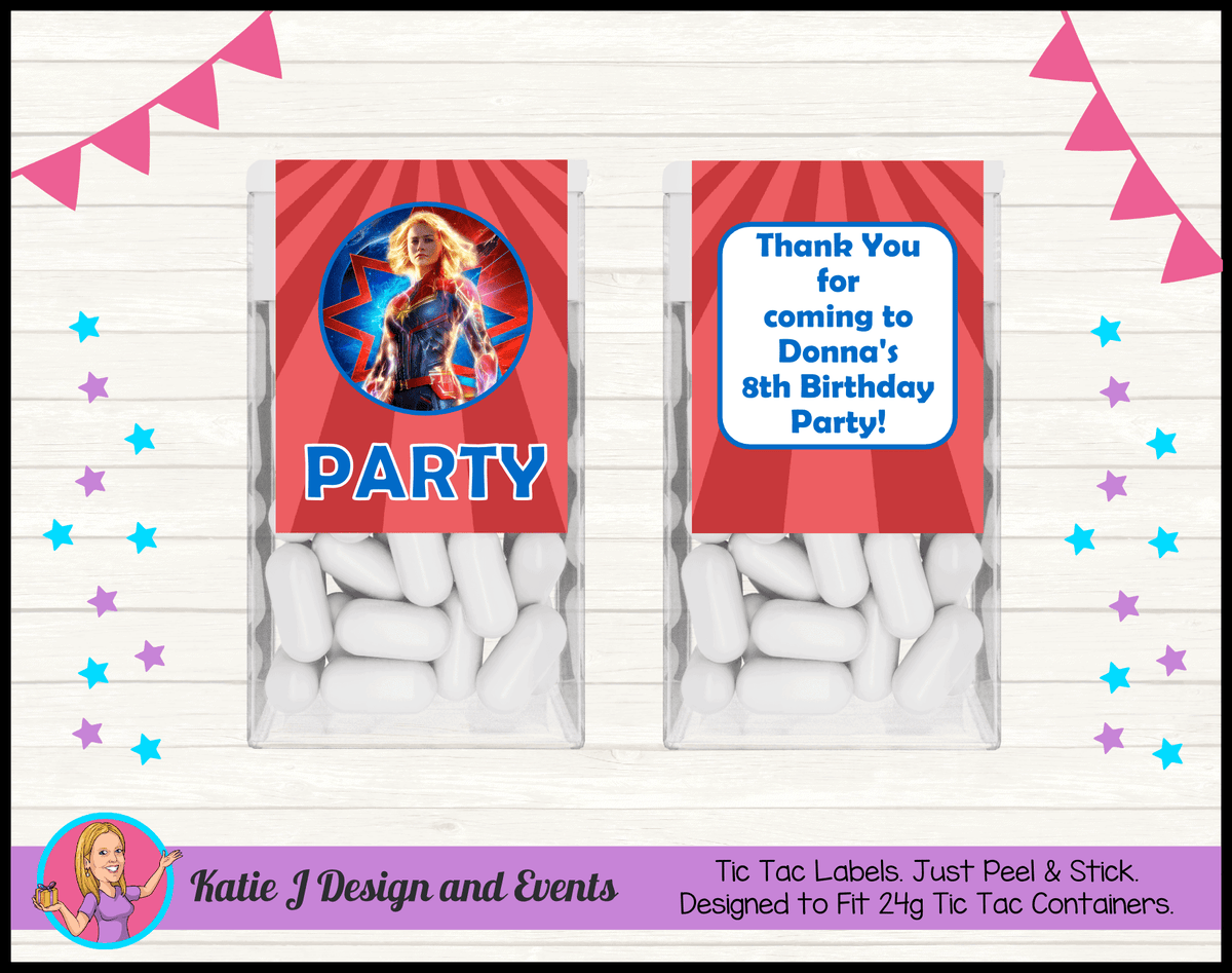 Personalised Captain Marvel Birthday Party Tic Tac Mint Labels