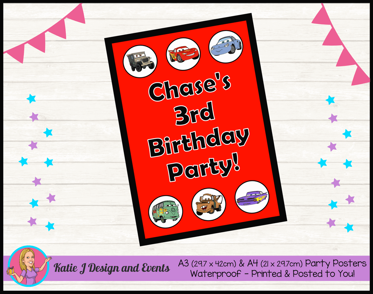 Personalised Red Disney Cars Lightning McQueen Birthday Party Poster