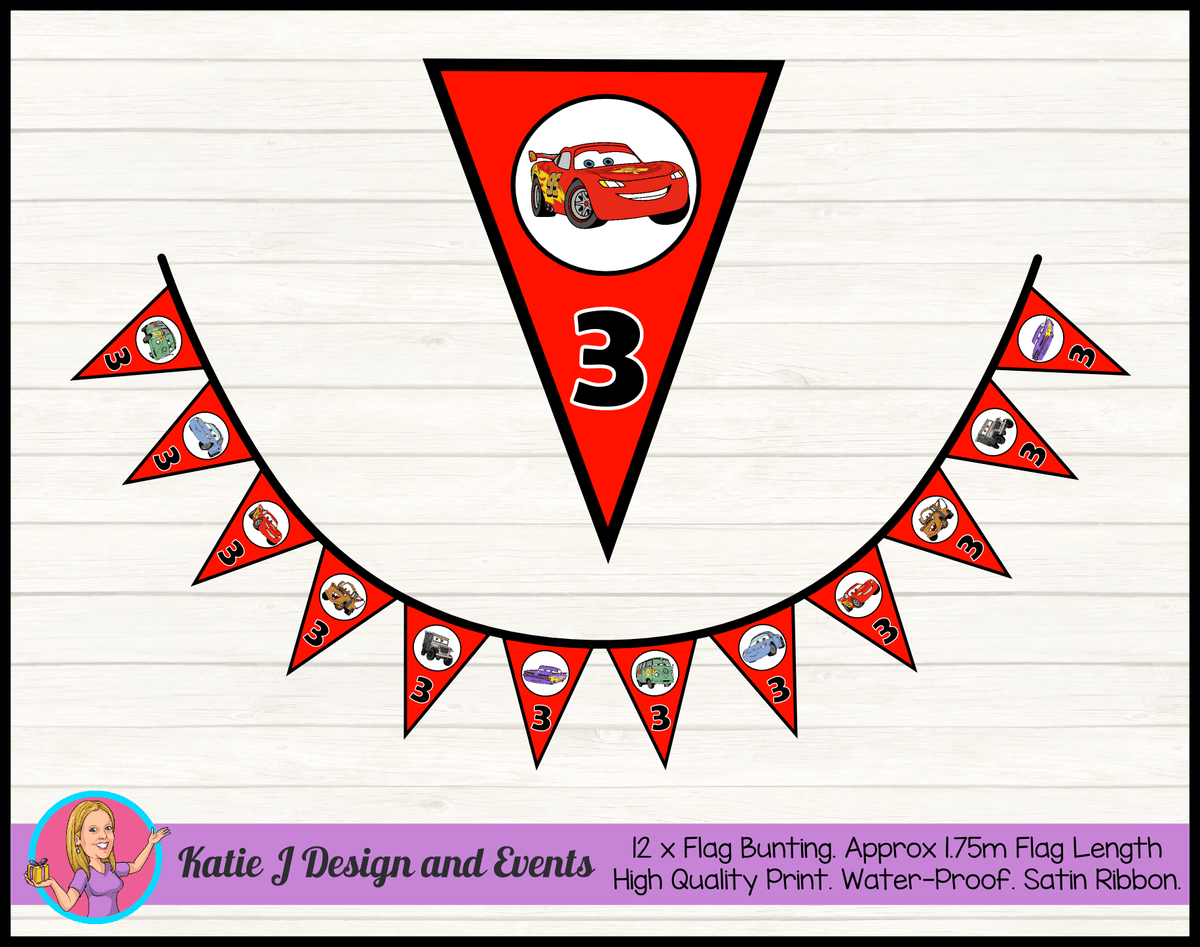 Personalised Red Disney Cars Lightning McQueen Birthday Party Bunting