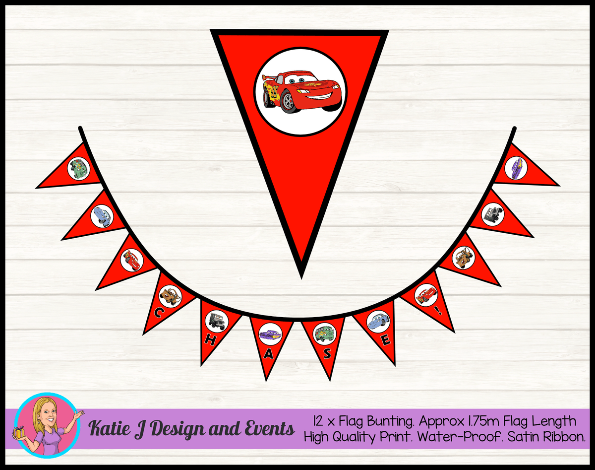 Red Cars Lightning McQueen Birthday Party Flag Bunting Name