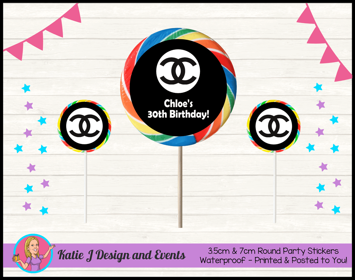 Personalised Coco Chanel Birthday Party Round Lollipop Stickers