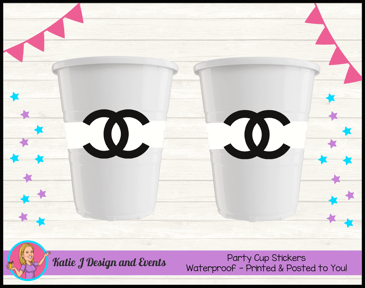 Personalised Coco Chanel Birthday Party Cup Stickers Cups