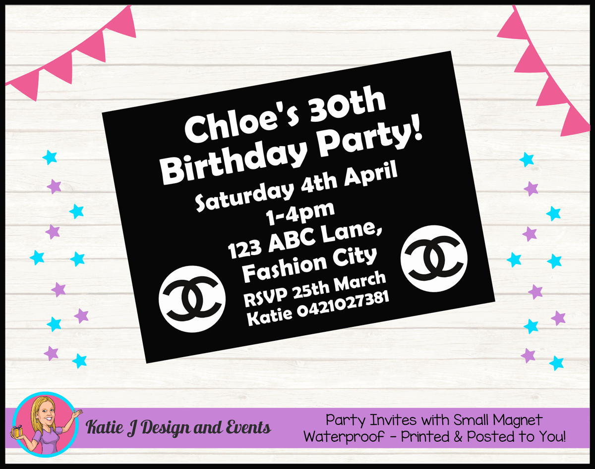 Personalised Coco Chanel Birthday Party Invites Invitations
