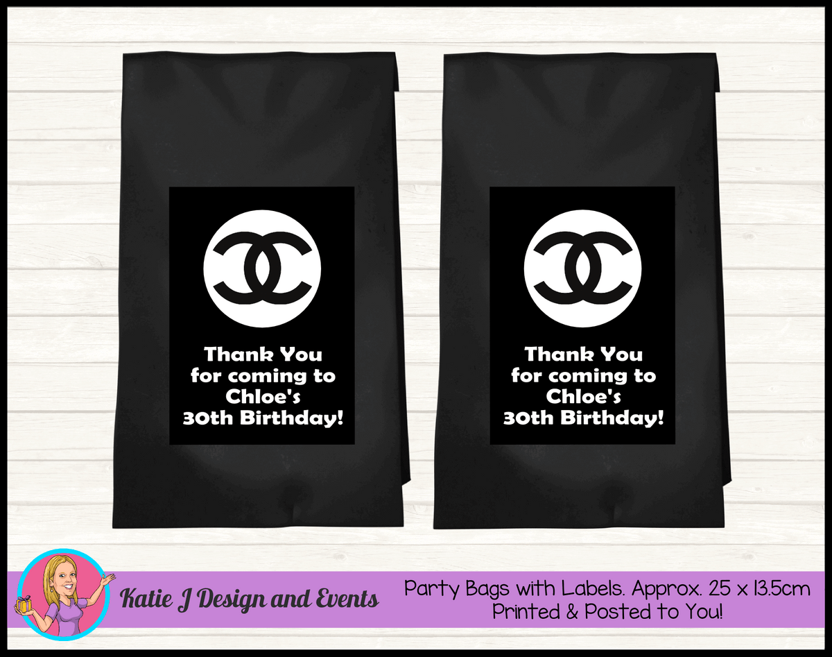 Personalised Coco Chanel Birthday Party Loot Bags