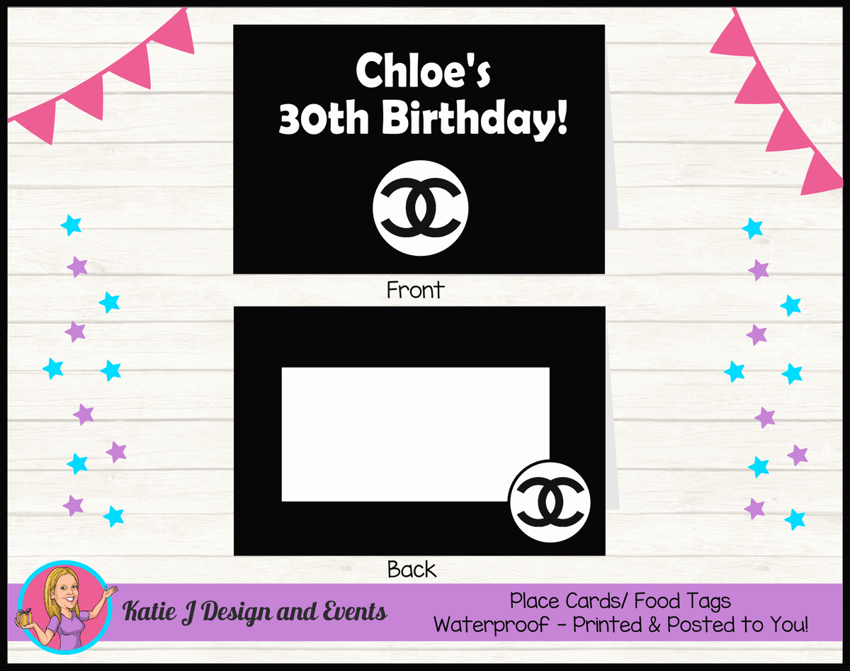 Personalised Coco Chanel Birthday Party Place Cards