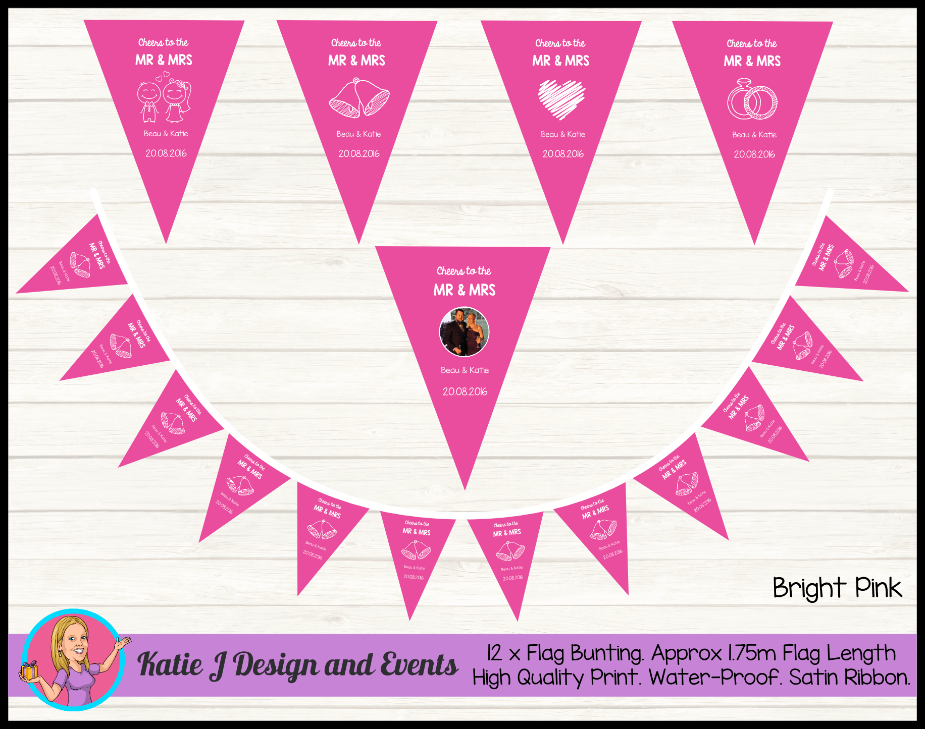 Personalised Pink 'Cheers to the Mr & Mrs' Wedding Banners Bunting Decor