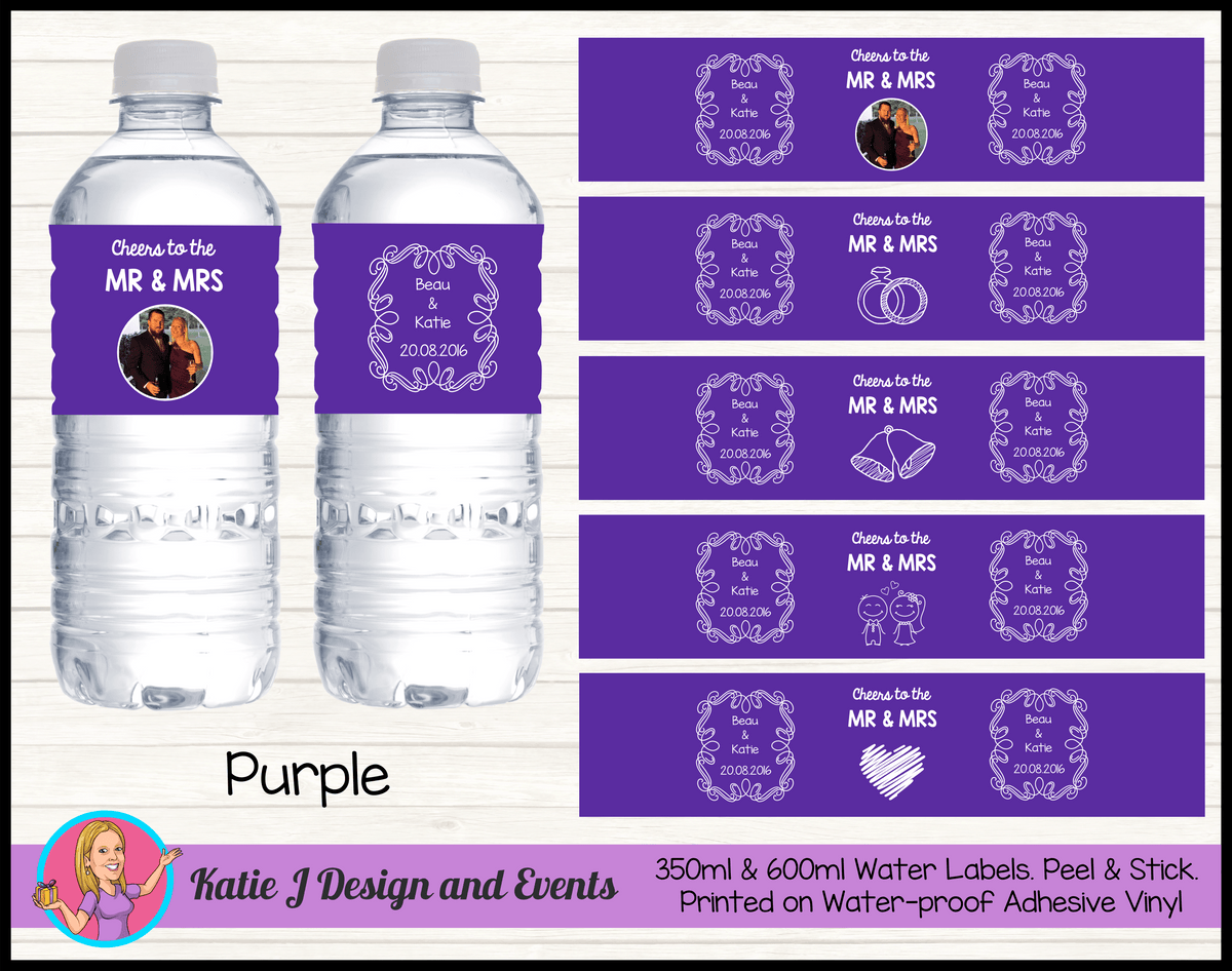 Personalised Purple 'Cheers to the Mr & Mrs' Wedding Water Bottle Labels