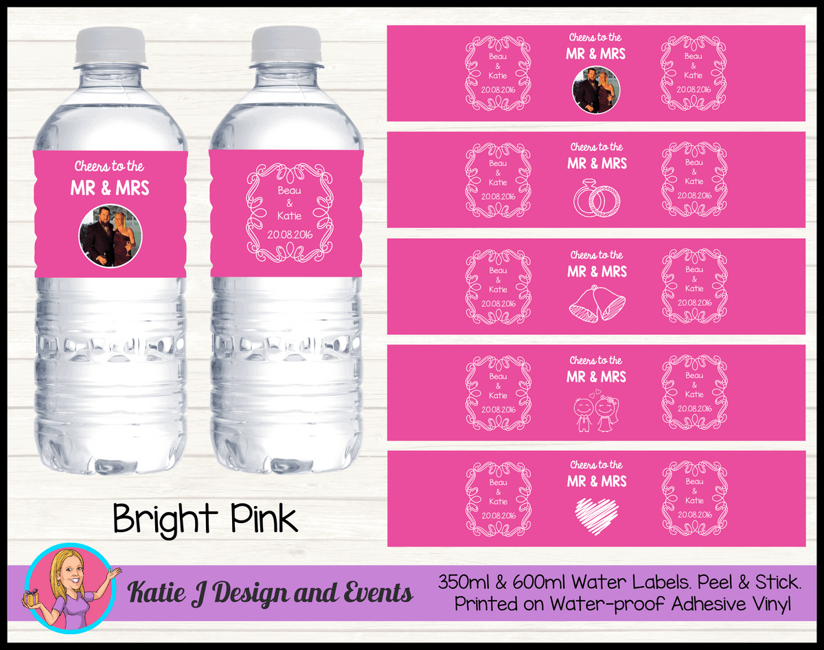 Personalised Pink 'Cheers to the Mr & Mrs' Wedding Water Bottle Labels