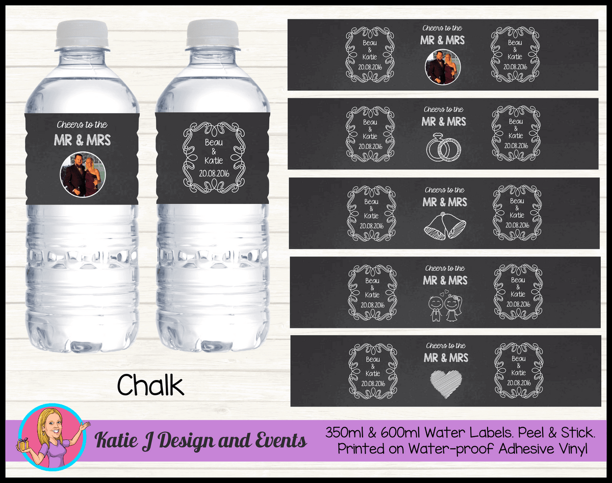 Personalised Chalk 'Cheers to the Mr & Mrs' Wedding Water Bottle Labels