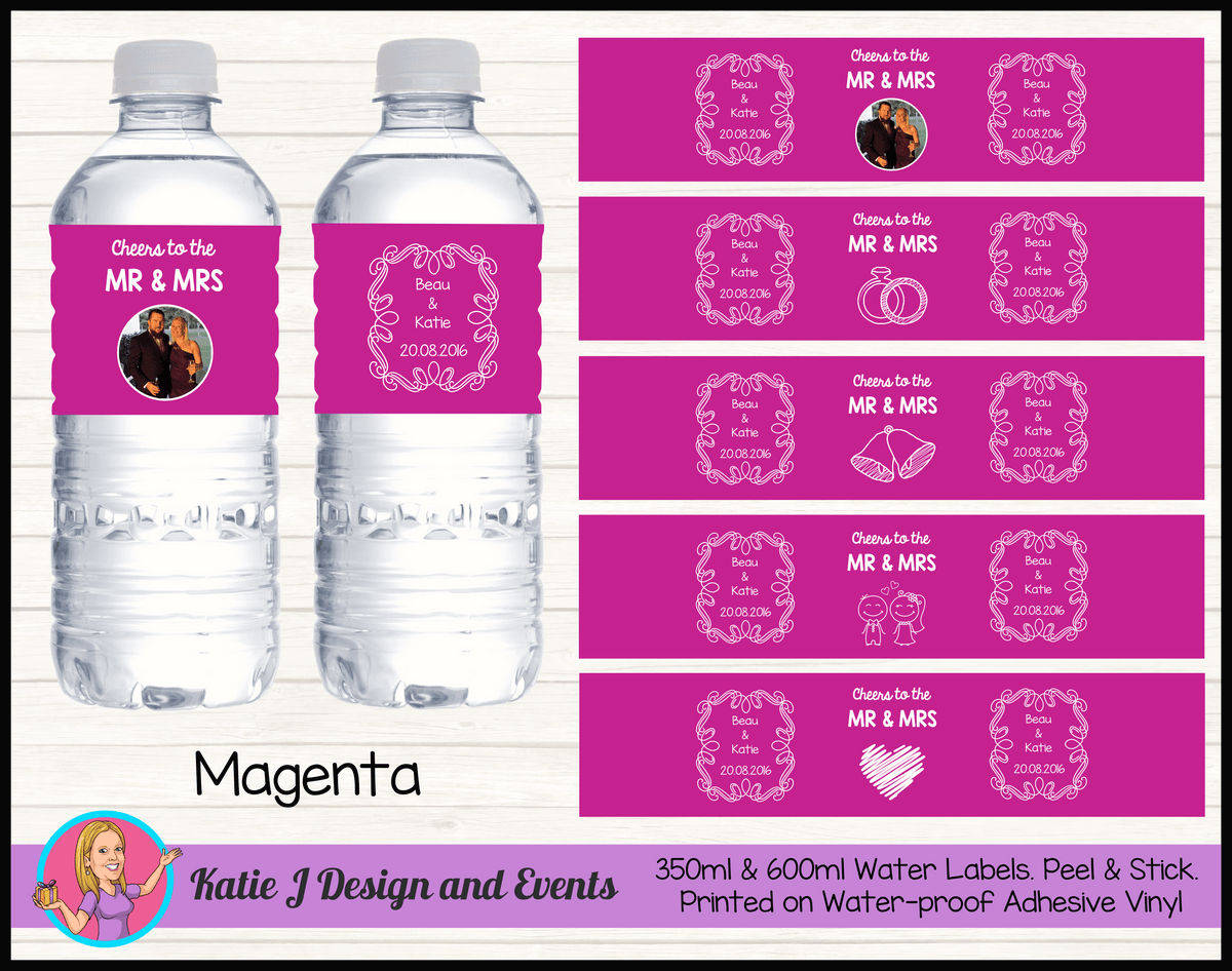 Personalised Magenta 'Cheers to the Mr & Mrs' Wedding Water Bottle Labels