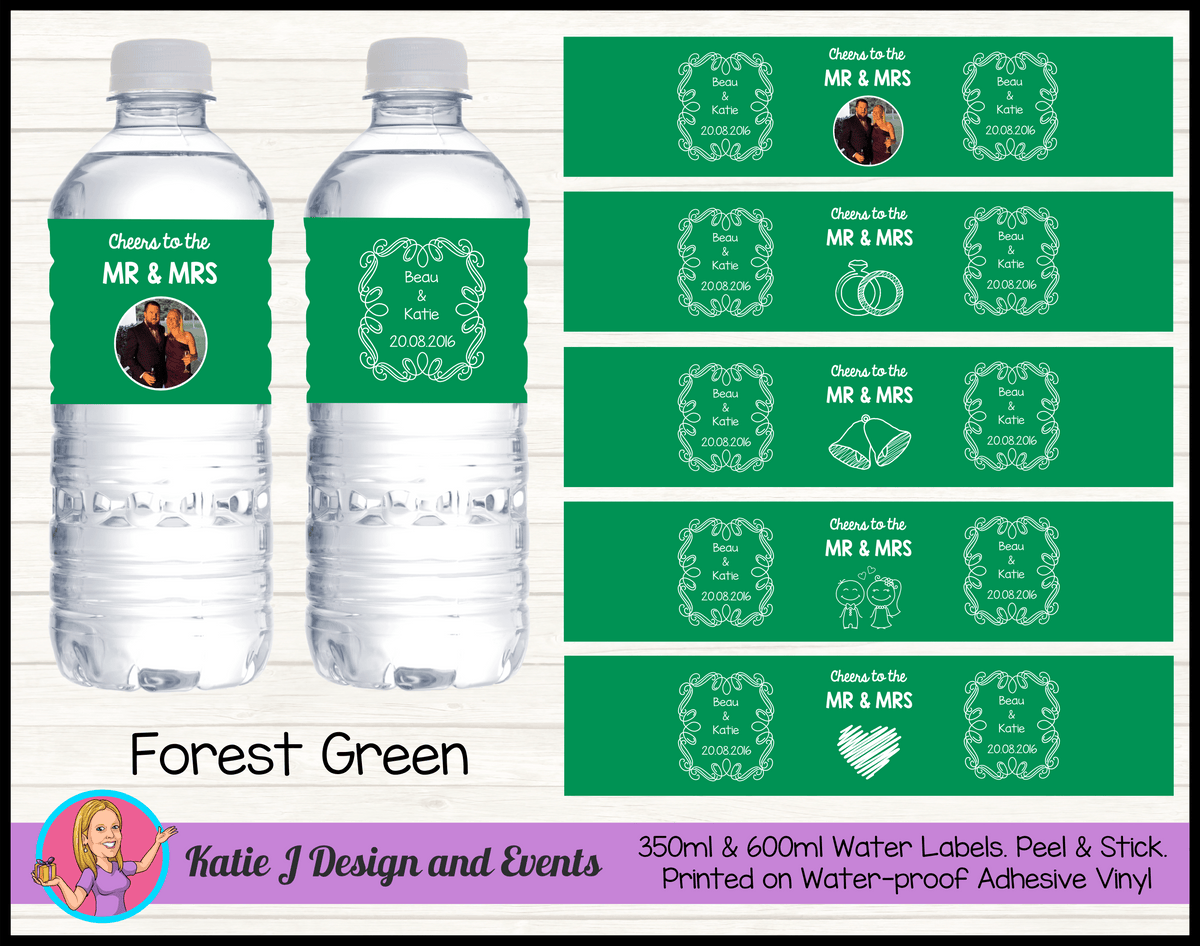 Personalised Forest Green 'Cheers to the Mr & Mrs' Wedding Water Bottle Labels