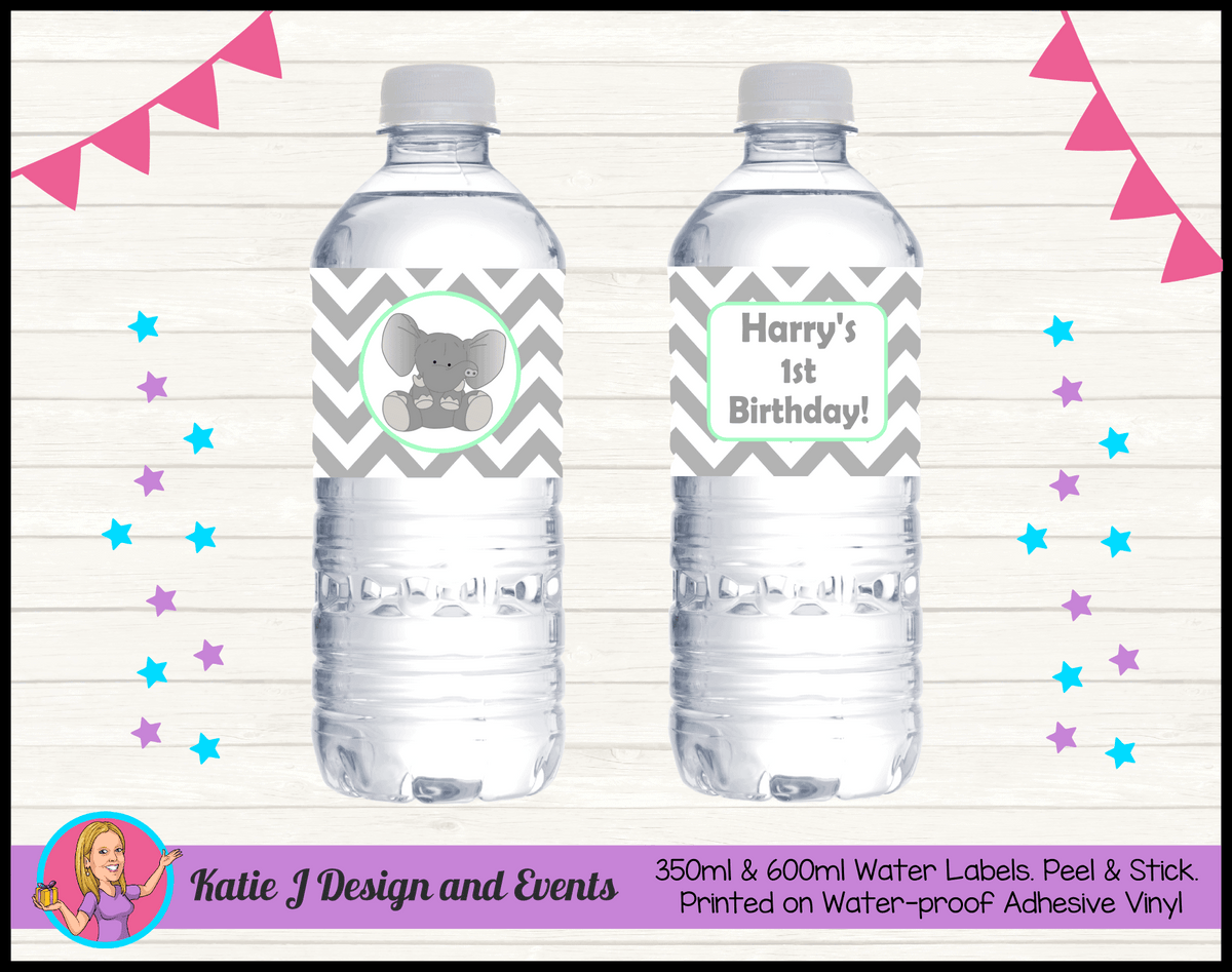 Green Chevron Elephant Personalised Birthday Party Water Labels
