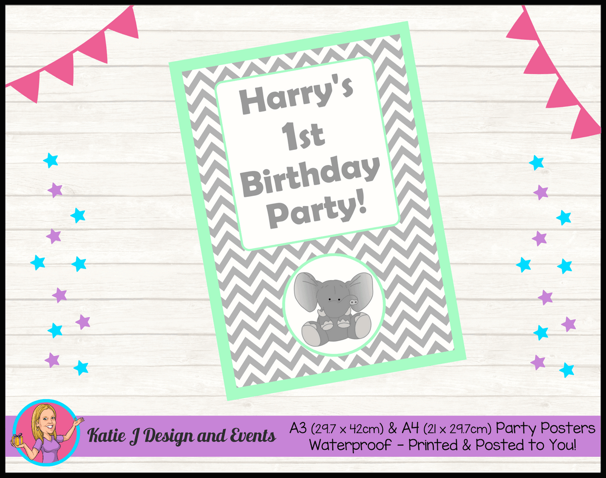 Green Chevron Elephant Personalised Birthday Party Posters