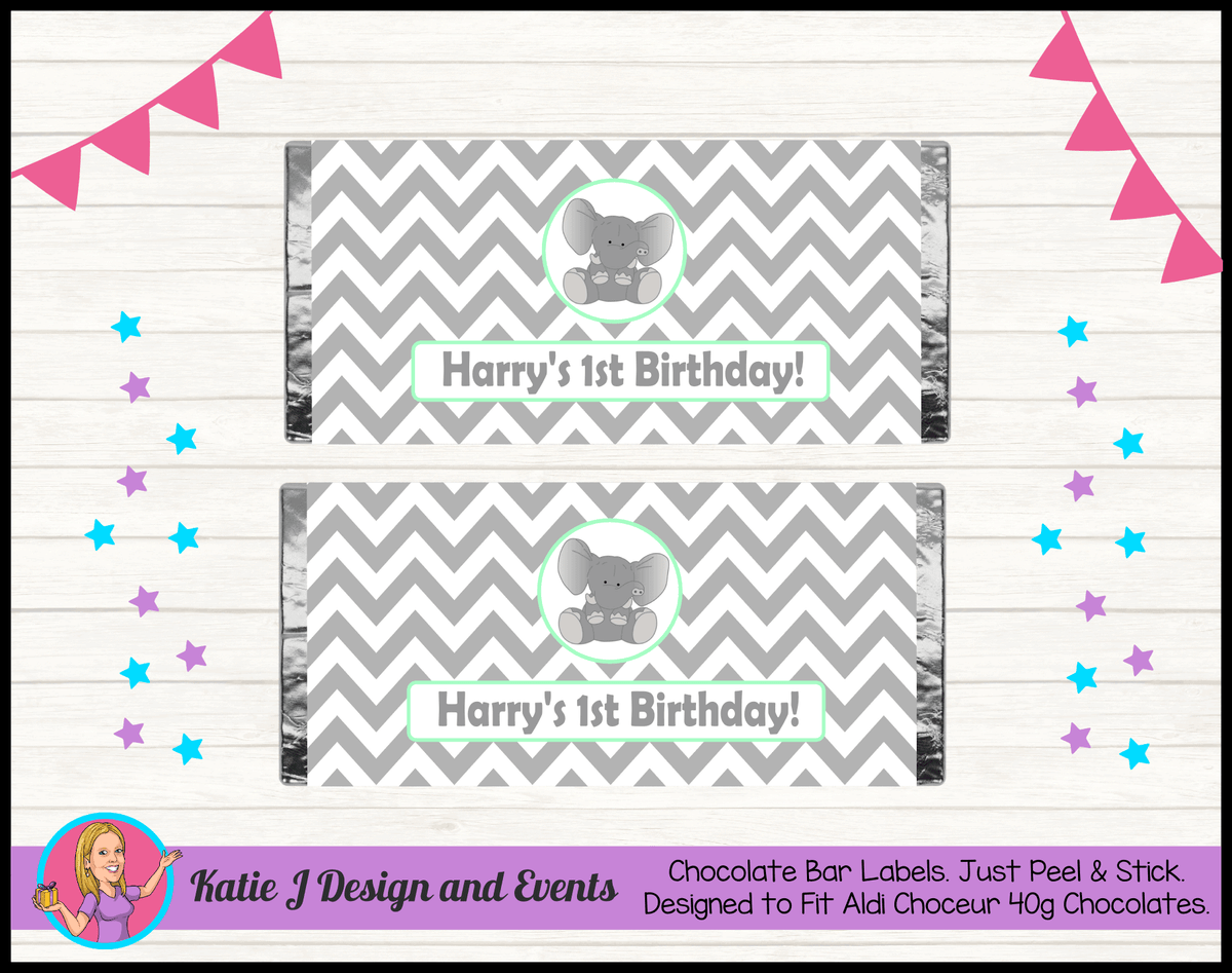 Green Chevron Elephant Personalised Birthday Party Chocolate Labels Wrappers