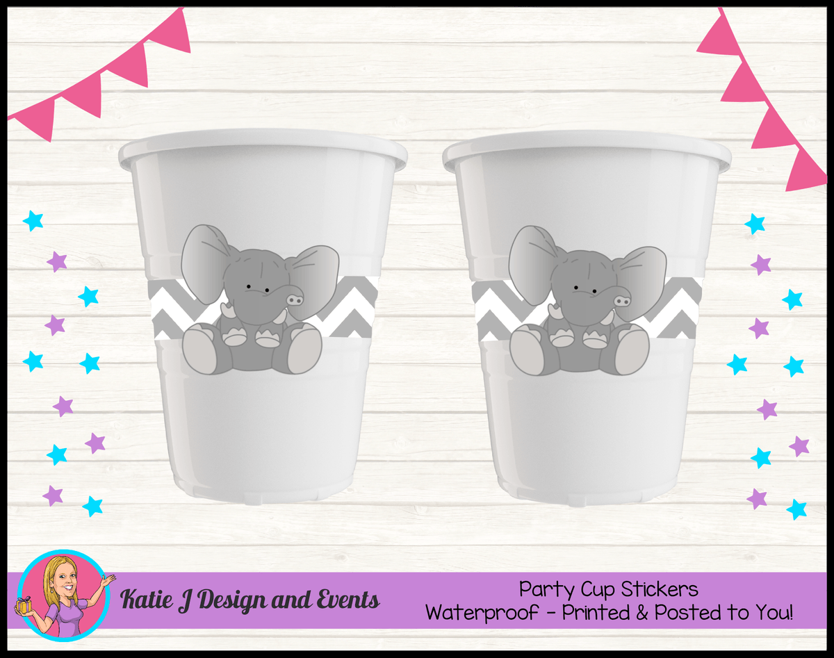 Green Chevron Elephant Personalised Birthday Party Cup Stickers Cups