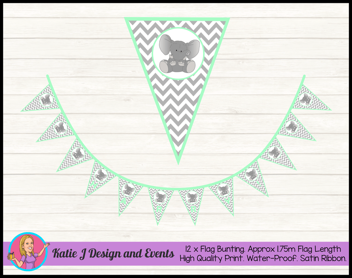 Green Chevron Elephant Personalised Birthday Party Flag Bunting Name