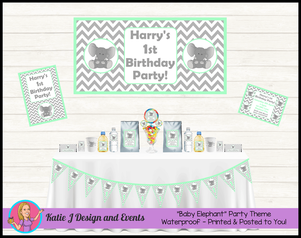 Mint Green Chevron Elephant Party Packs Decorations Supplies Australia
