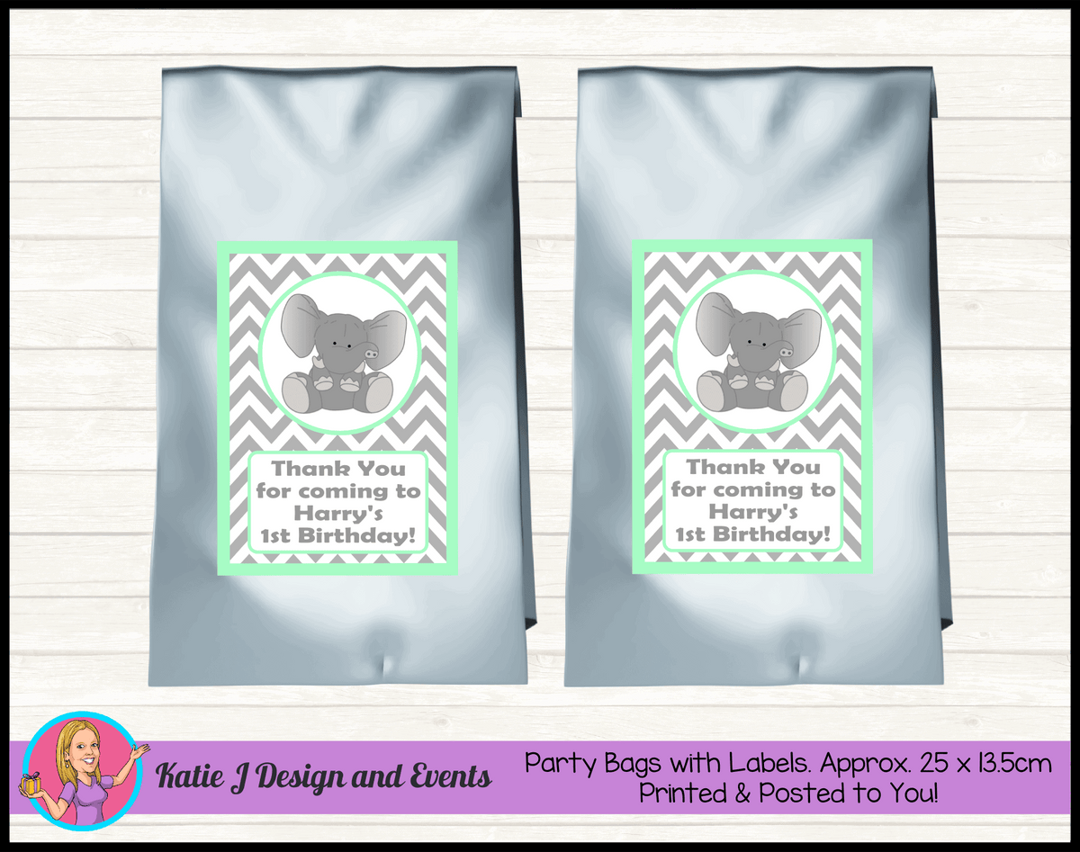 Green Chevron Elephant Personalised Birthday Party Loot Bags