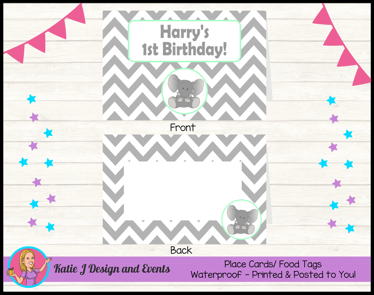 Green Chevron Elephant Personalised Birthday Party Place Cards