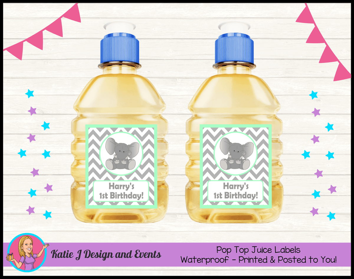 Green Chevron Elephant Personalised Birthday Party Pop Top Juice Labels