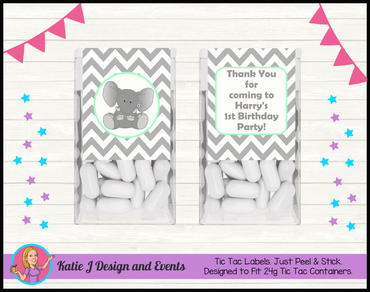 Green Chevron Elephant Personalised Birthday Party Tic tac Mint Labels