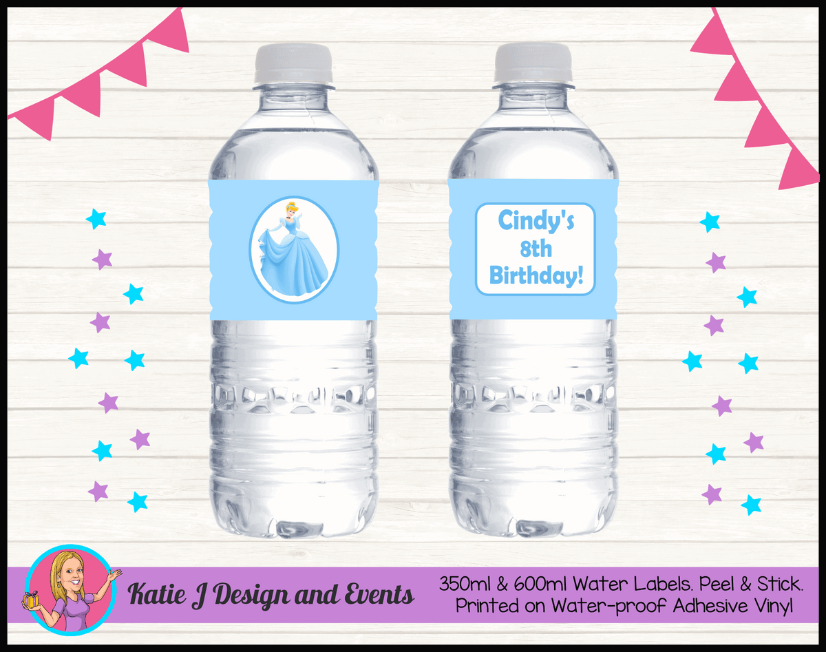Personalised Blue Cinderella Birthday Party Water Bottle Labels