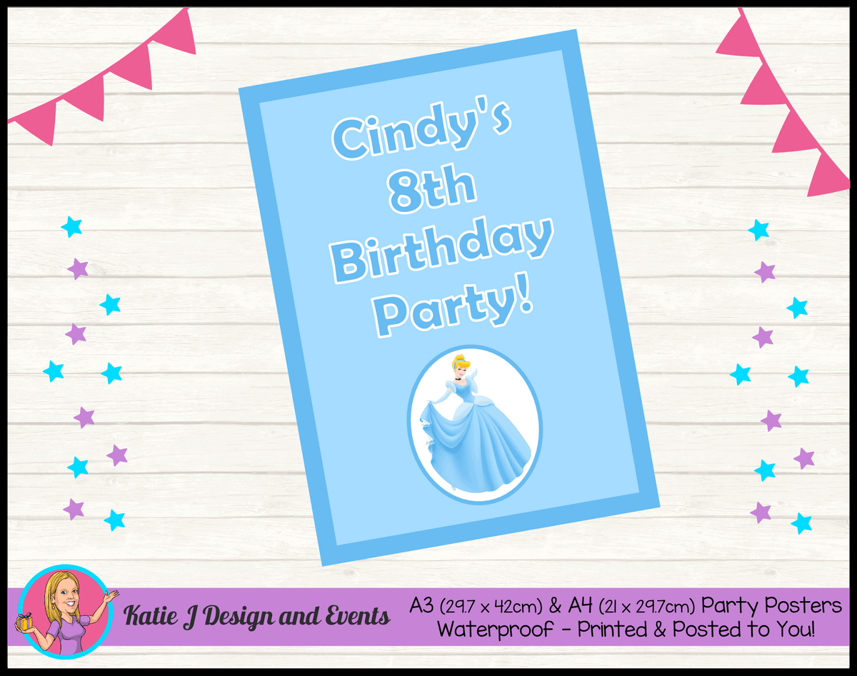 Personalised Blue Cinderella Birthday Party Posters