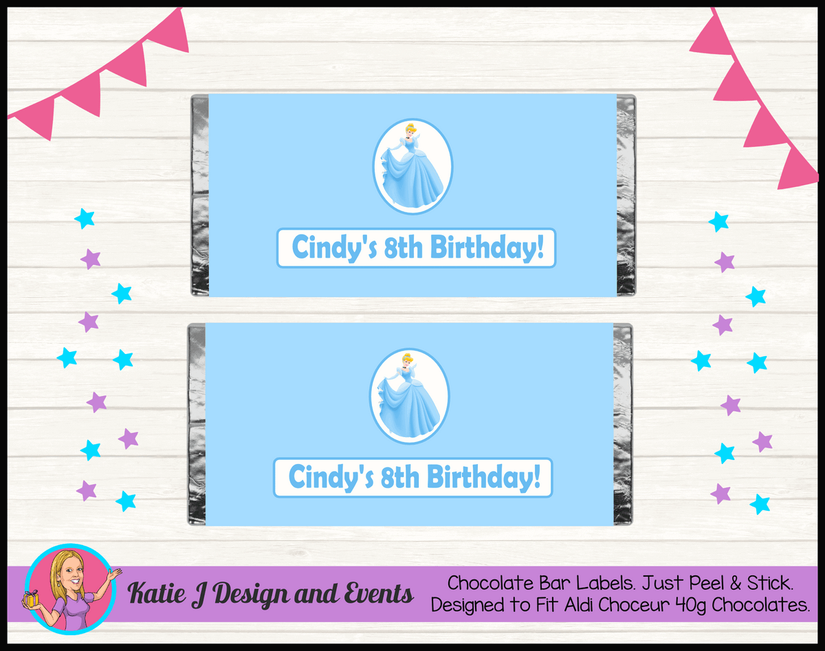 Personalised Blue Cinderella Birthday Party Chocolate Labels Wrappers