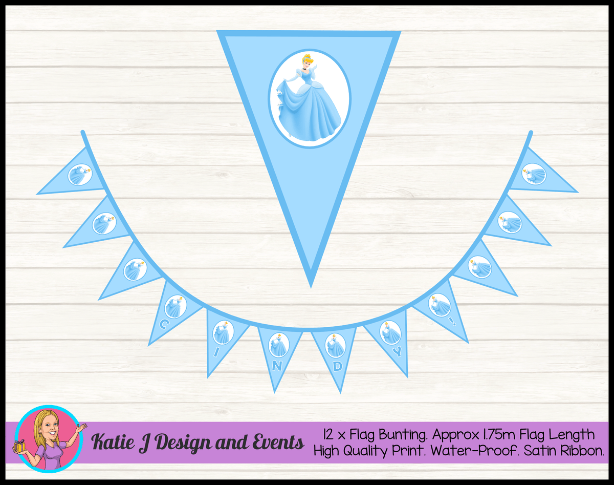 Personalised Blue Cinderella Birthday Party Flag Bunting Name