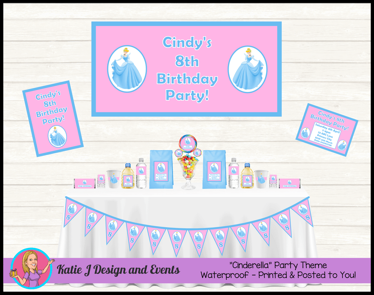 Personalised Pink & Blue Cinderella Party Packs Decorations Supplies