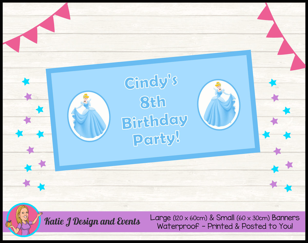 Personalised Blue Cinderella Birthday Party Banners
