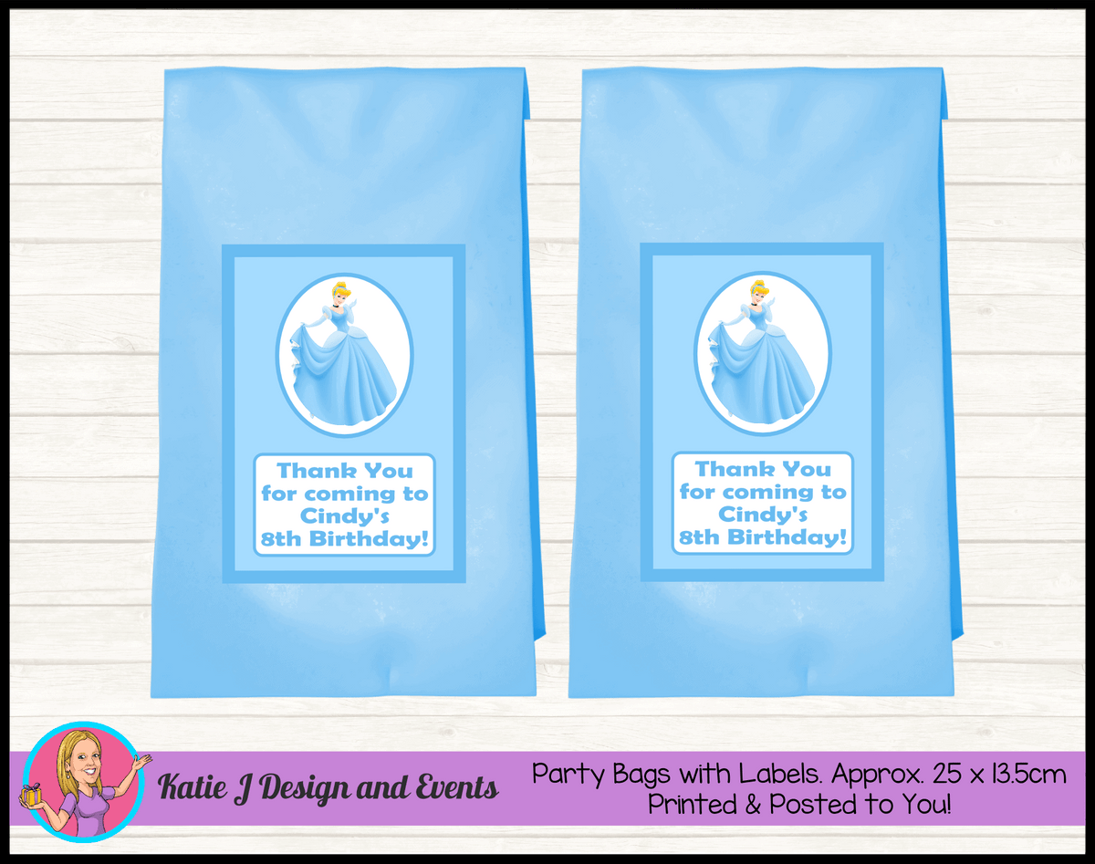 Personalised Blue Cinderella Birthday Party Loot Bags