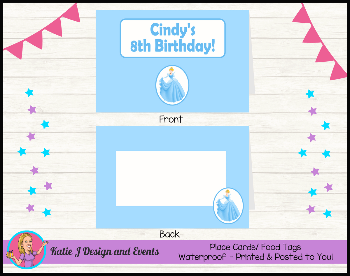 Personalised Blue Cinderella Birthday Party Place Cards