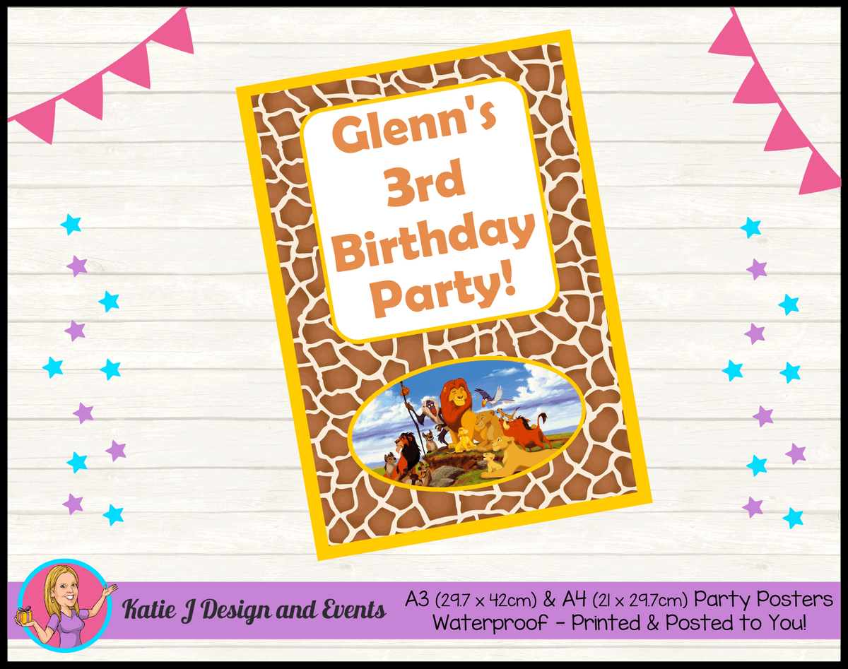 Personalised Lion King Birthday Party Poster