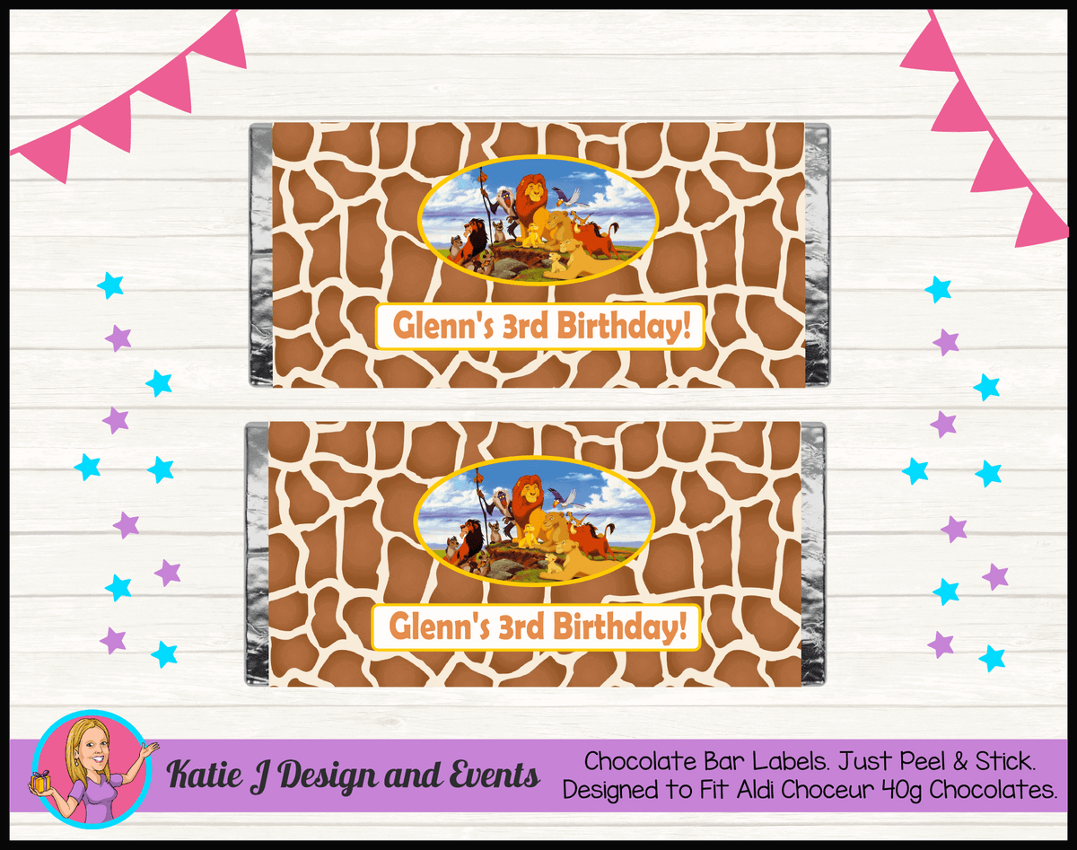 Personalised Lion King Birthday Chocolate Labels Wrappers