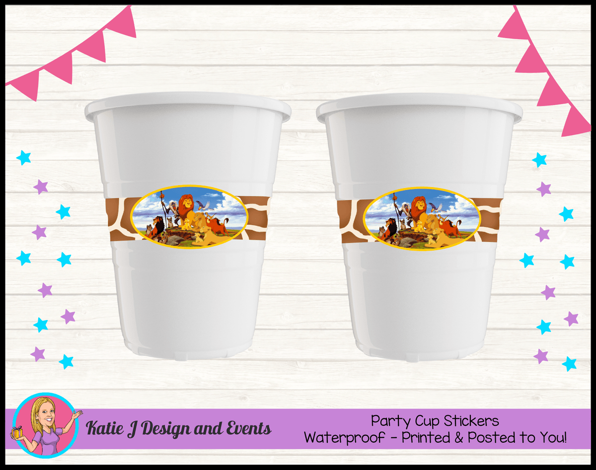 Personalised Lion King Party Cups Cup Stickers