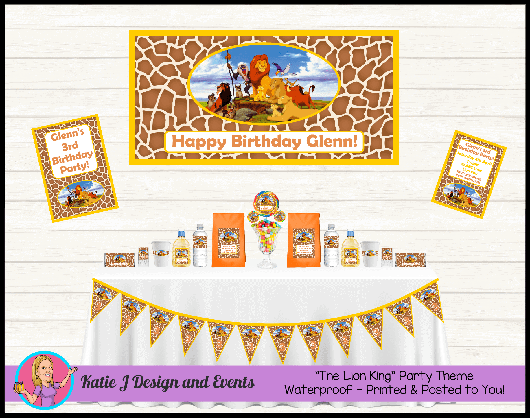 Personalised Lion King Party Packs Decorations Supplies