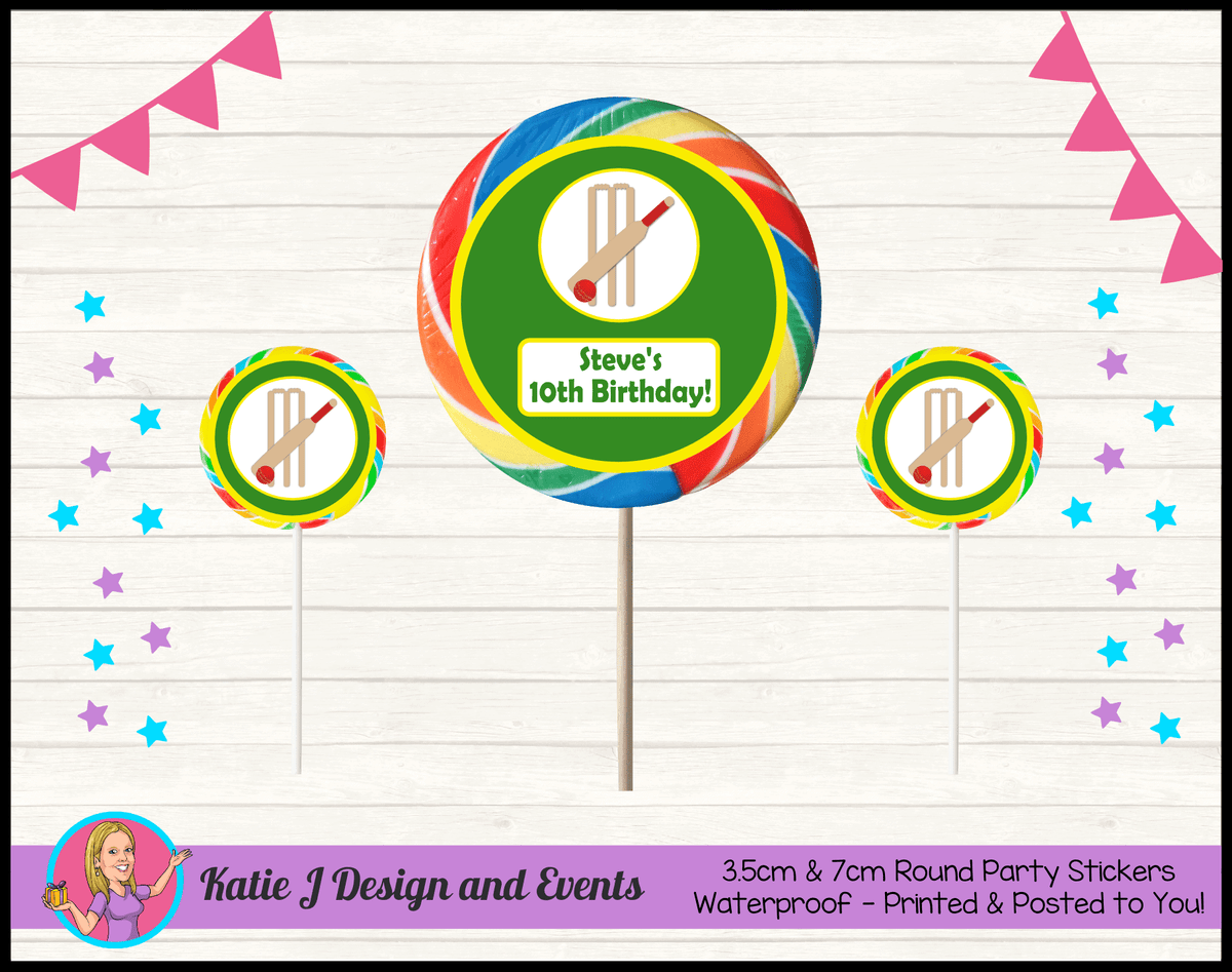Personalised Kids Boys Cricket Birthday Party Round Lollipop Stickers