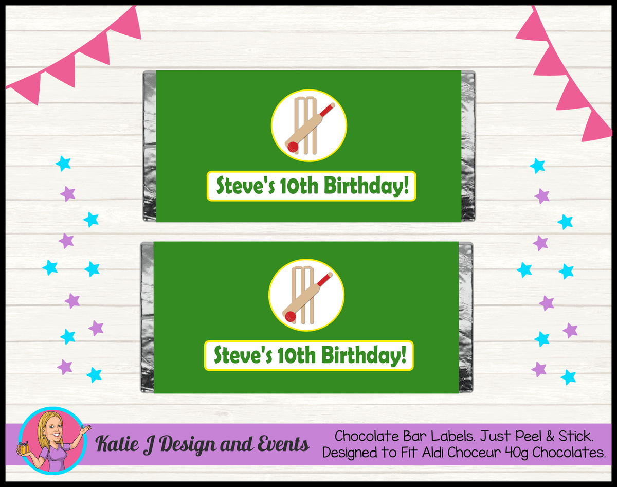 Personalised Kids Boys Cricket Birthday Party Chocolate Labels Wrappers