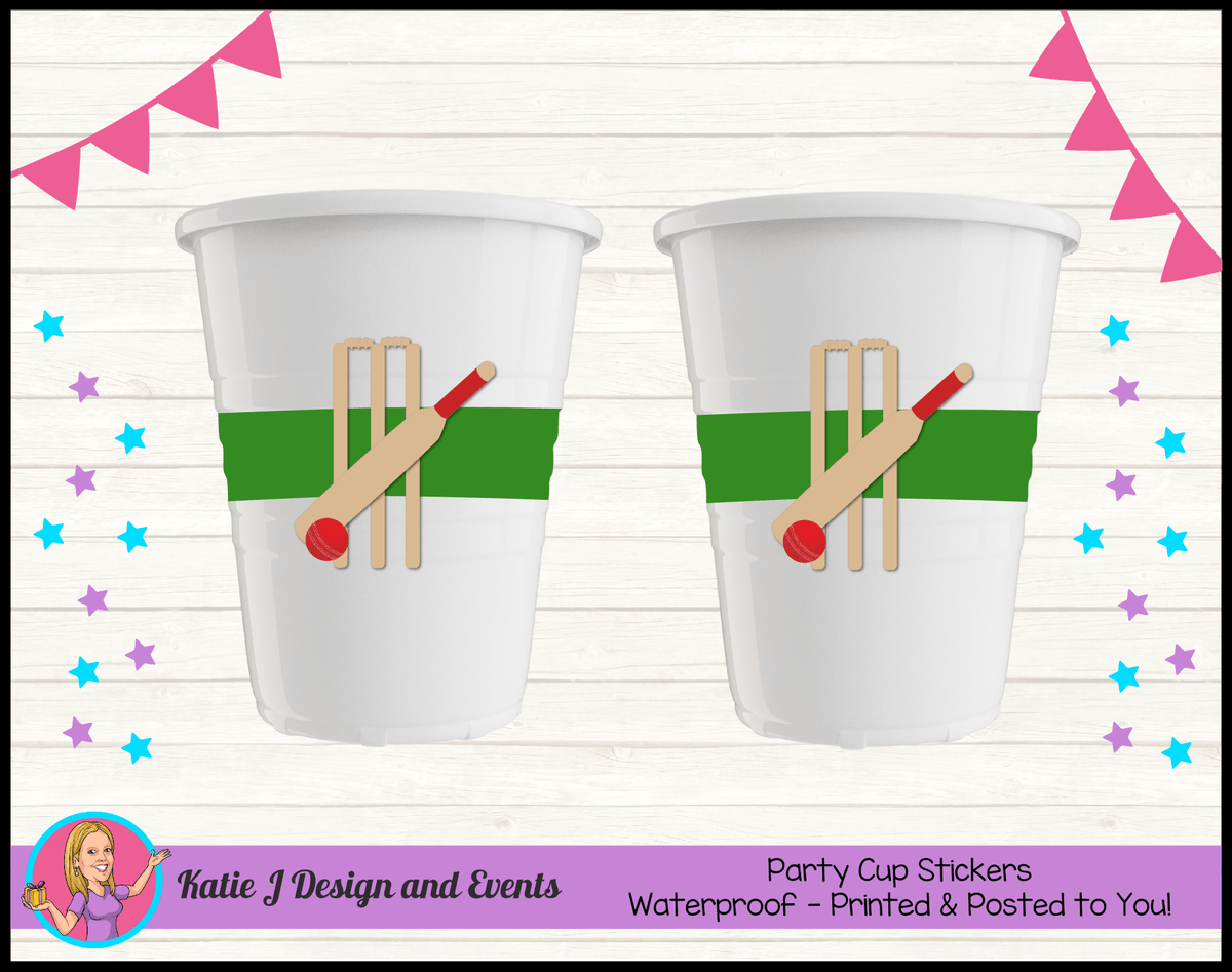 Personalised Kids Boys Cricket Birthday Party Cup Stickers Cups
