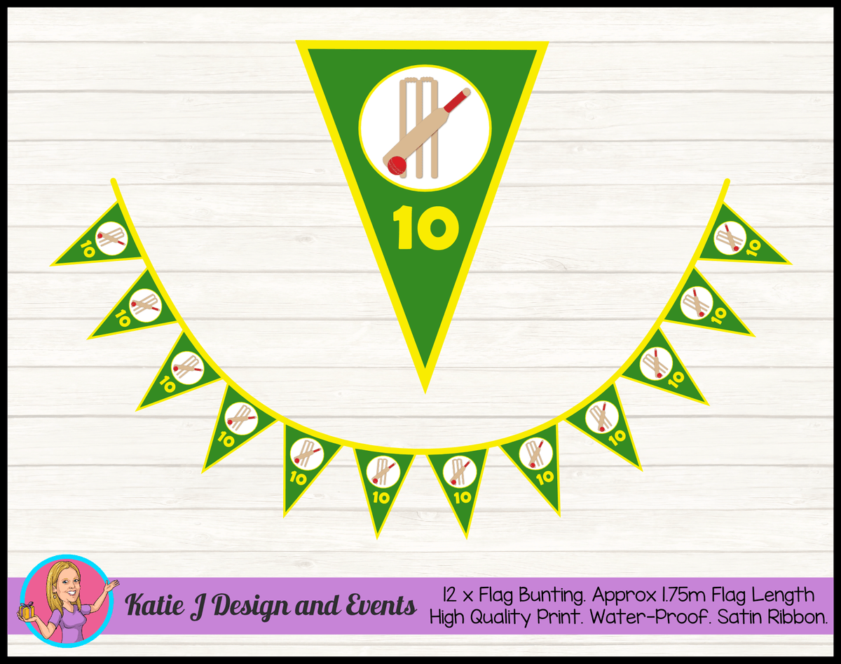 Personalised Kids Boys Cricket Birthday Party Flag Bunting