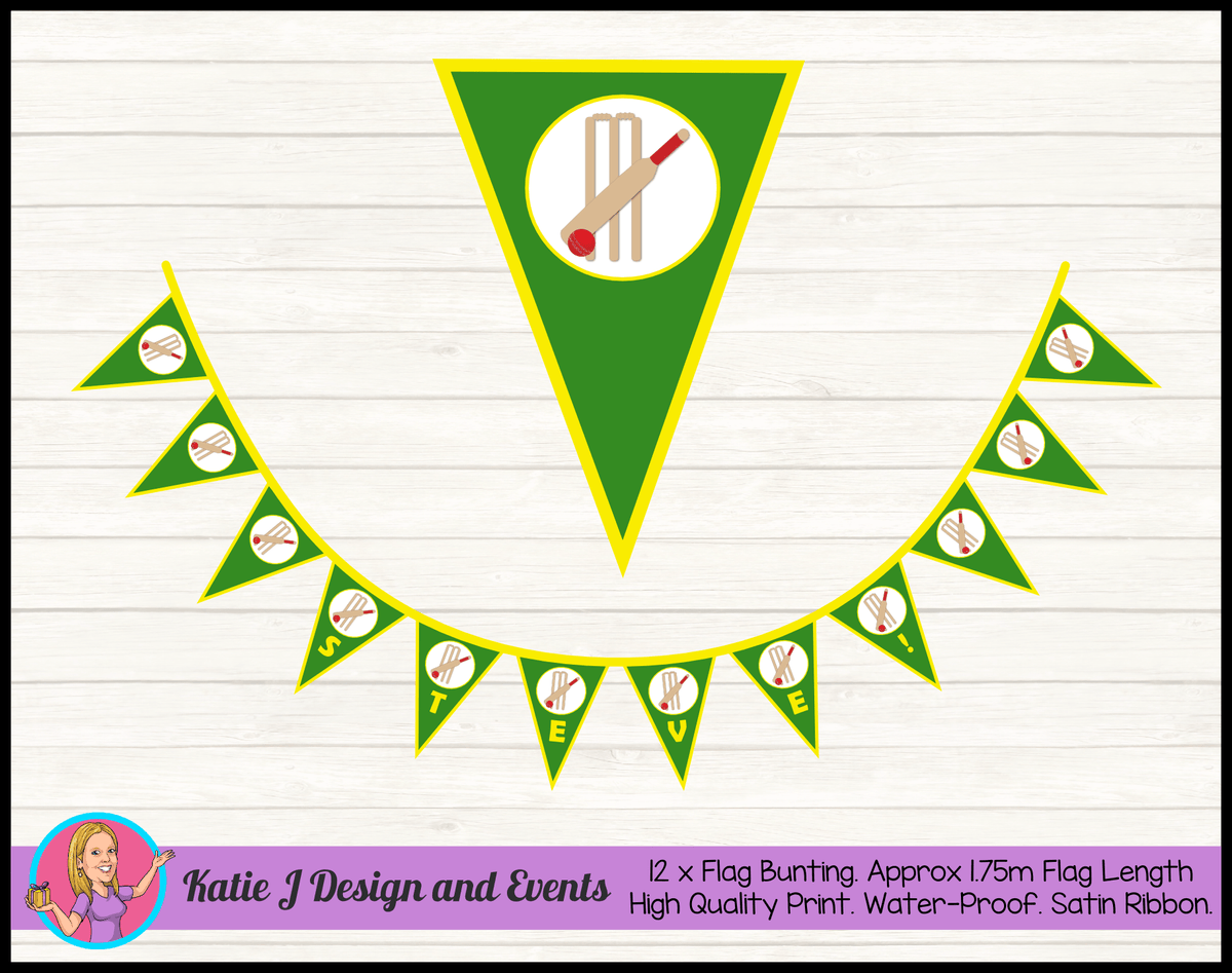 Personalised Kids Boys Cricket Birthday Party Flag Bunting Name