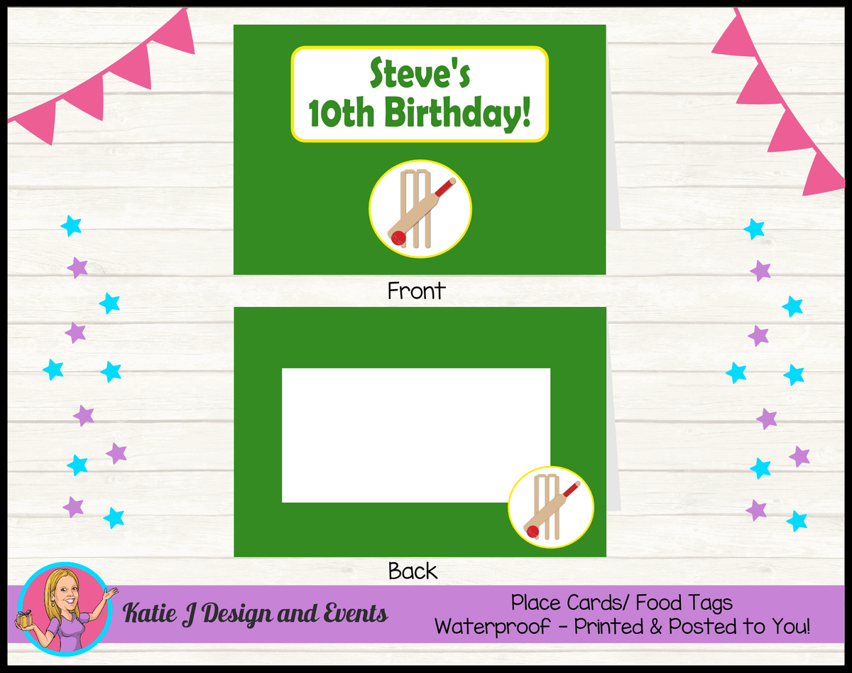 Personalised Kids Boys Cricket Birthday Party Place Cards