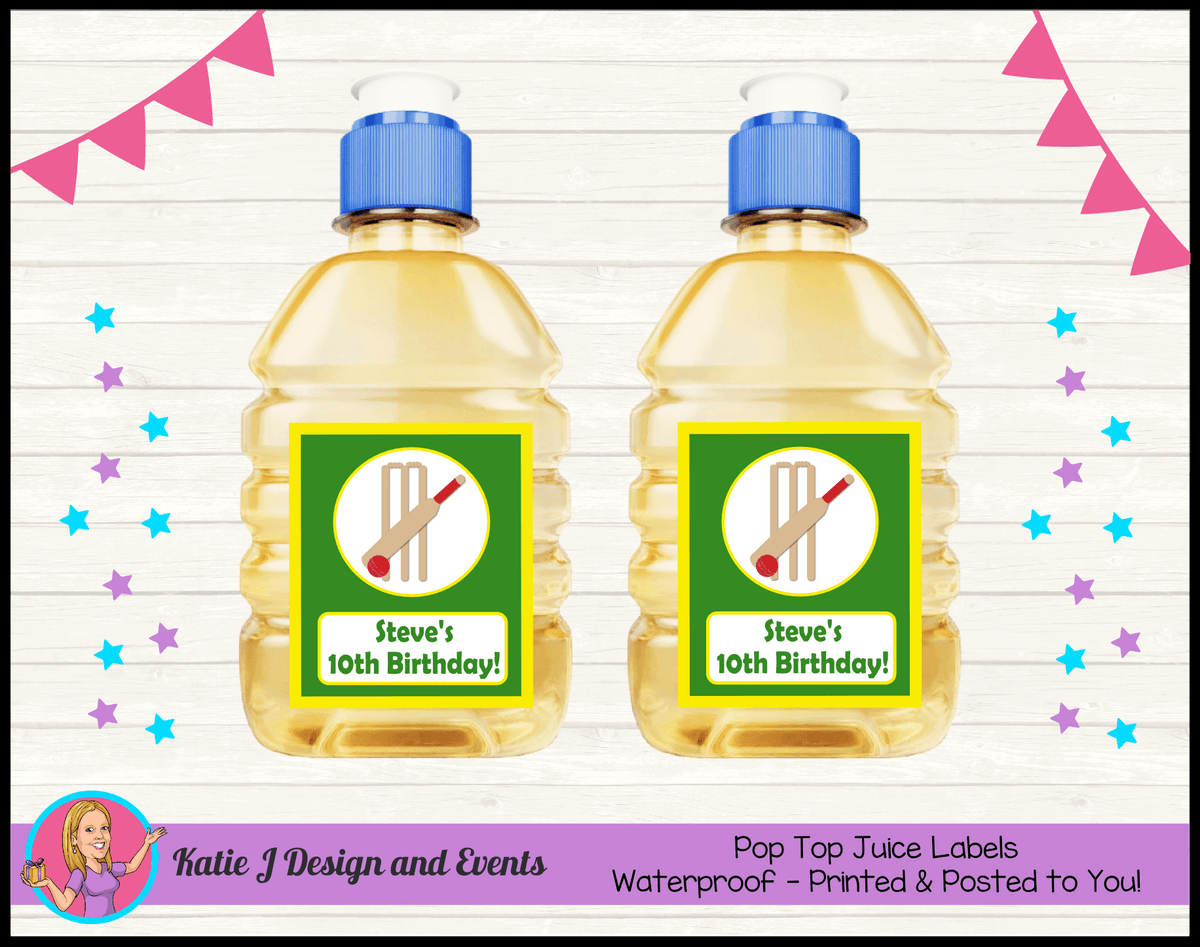 Personalised Kids Boys Cricket Birthday Party Pop Top Juice Labels
