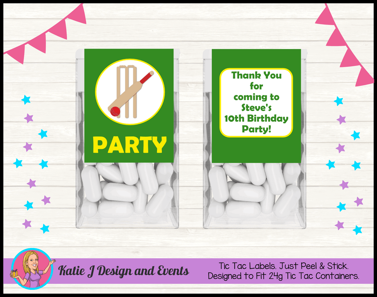 Personalised Kids Boys Cricket Birthday Party Tic Tac Mint Labels
