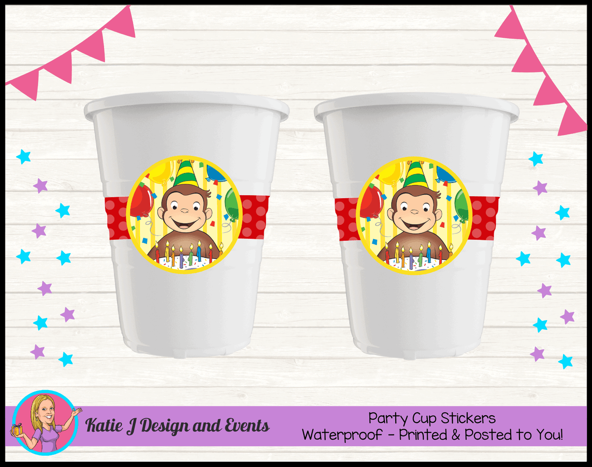 Personalised Curious George Birthday Party Cup Stickers Cups