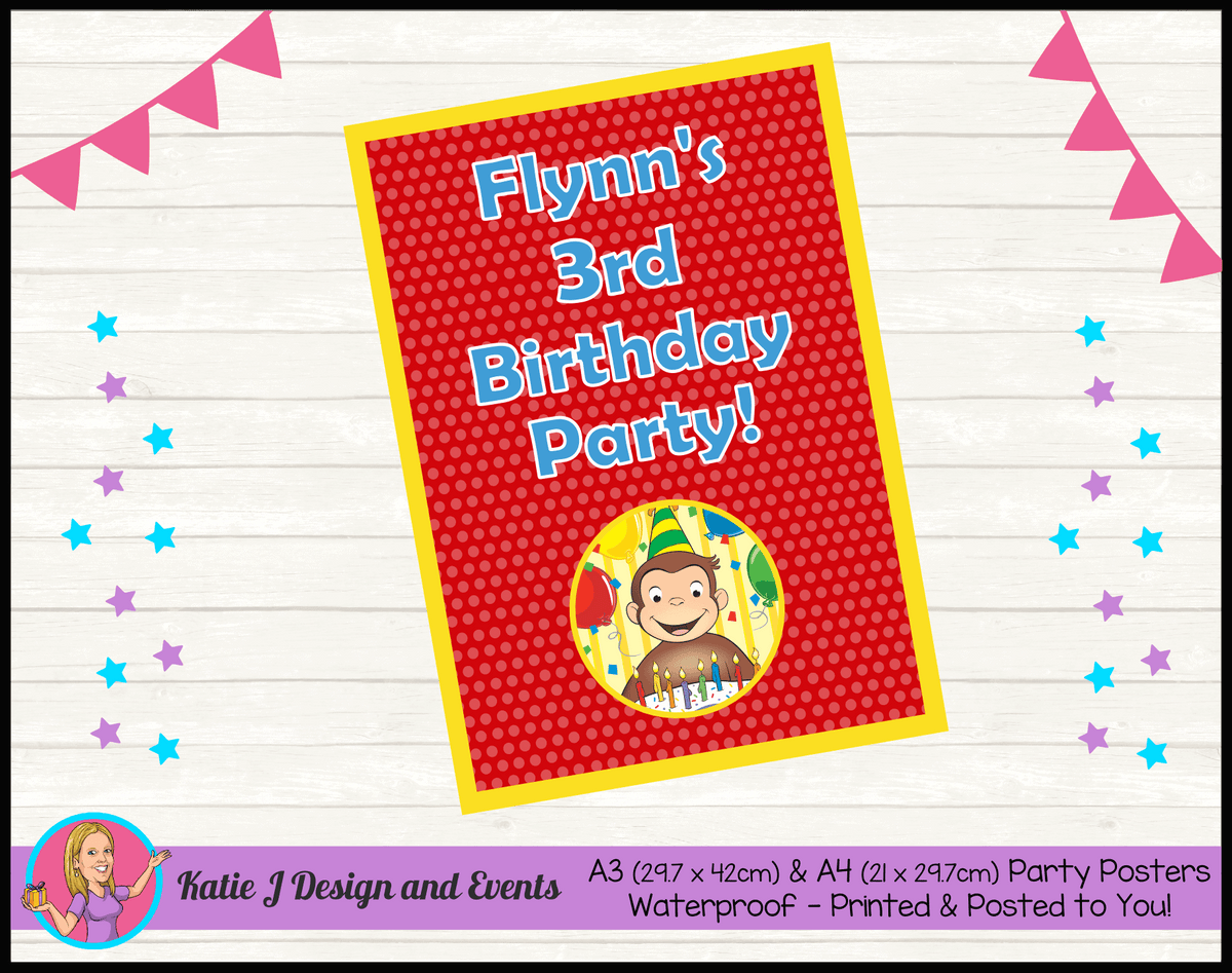 Personalised Curious George Birthday Party Poster