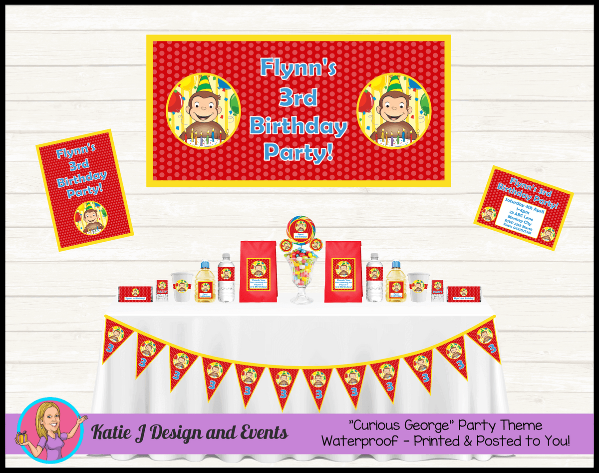 Personalised Curious George Party Packs Decorations Supplies