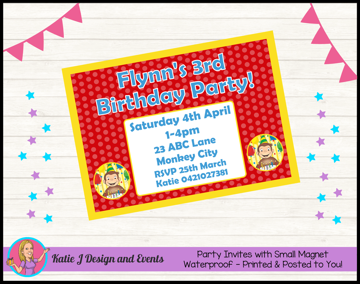 Personalised Curious George Birthday Party Invites Invitations
