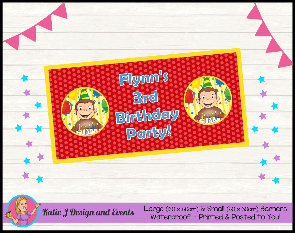 Personalised Curious George Birthday Party Banners